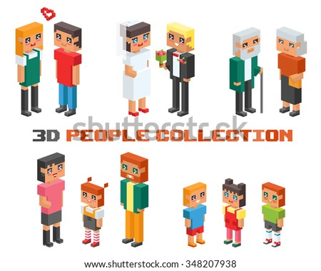 3d isometric family couples children, kids people concept flat icons. Flirting, love, first date, wedding and parenting. Family concept. Together concept. People couple vector 3d square illustration - stock vector