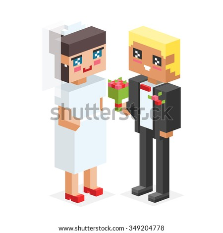3d isometric family couples love wedding. Love people 3d icons. Flirting, love, first date, wedding and parenting. Family together concept. People wedding, valentine day. Wedding couple - stock vector