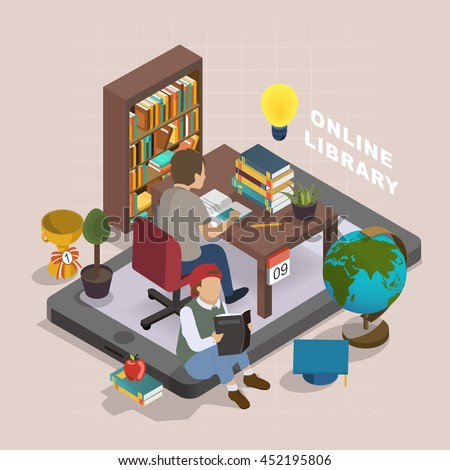 3d Isometric Flat Design Online Library Stock Vector