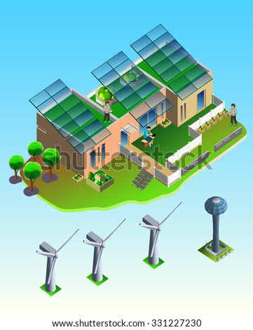 3d isometric green eco friendly house concept. wind turbine and house on rectangular platform. Build your own world collection. - stock vector