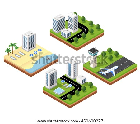 3D isometric icons travels with beach landscape with the hotel and the parasols, the airport terminal and a hotel with a swimming pool