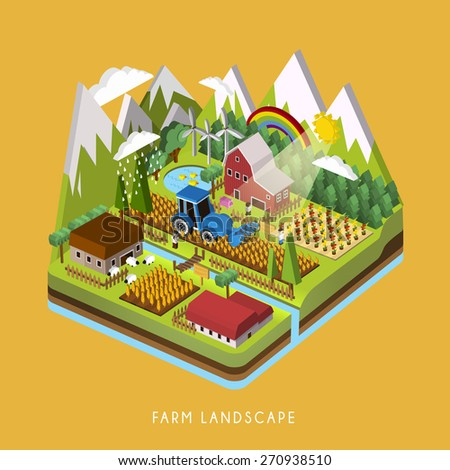 3d isometric infographic for adorable farm landscape over yellow - stock vector