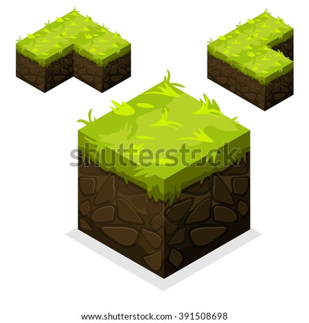 3D Isometric Landscape Cube-Ground Grass Element. Icon Can be used for Game, Web, Mobile App, Infographics. Game asset. - stock vector