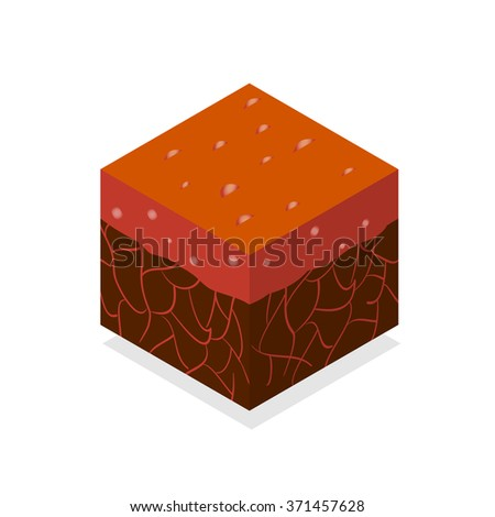 3D Isometric Landscape Cube - Ground Lava Element. Icon Can be used for Game, Web, Mobile App, Infographics. Game asset. - stock vector