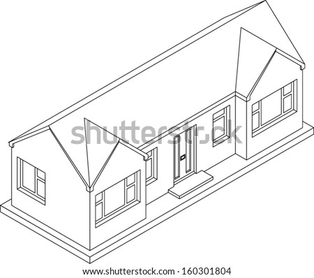 3d isometric line drawing of a double fronted single story house/bungalow. Vector Version. - stock vector
