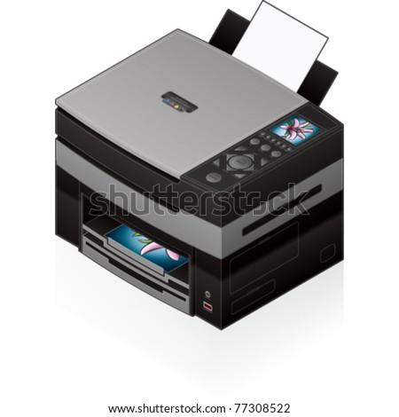 3D Isometric Office Color Photo InkJet Printer - stock vector