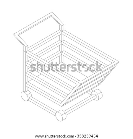 3d Isometric vector shopping cart icons