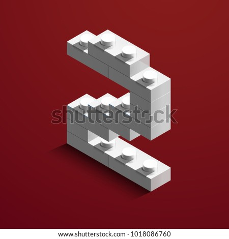 3 D Isometric White Number Two Lego Stock Vector 1018086760