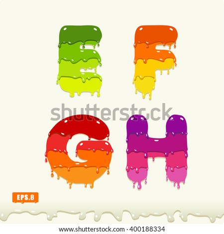 3d Joyful a set of capital letters painted with paint, with smudges and drops. E, F, G, H. eps8 - stock vector