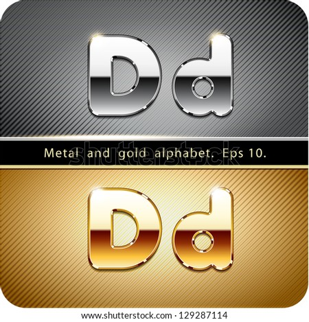 "3d Joyful set of chrome metal and gold vector alphabet. The letter ""D"".Eps 10. The rest of uppercase and lowercase letters, symbols and numbers of the alphabet in my portfolio. - stock vector"