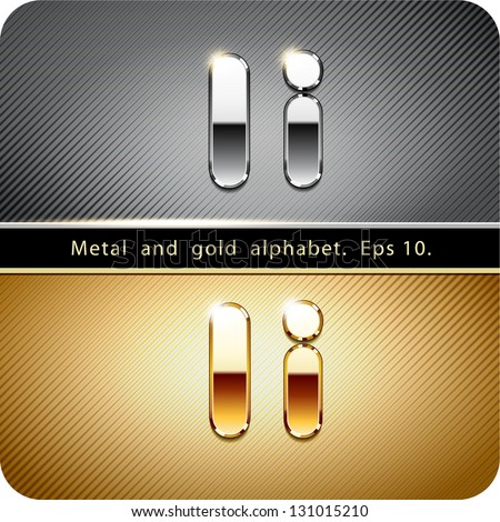 "3d Joyful set of chrome metal and gold vector alphabet. The letter ""I"".Eps 10. The rest of uppercase and lowercase letters, symbols and numbers of the alphabet in my portfolio. - stock vector"