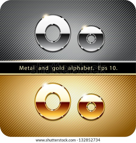 "3d Joyful set of chrome metal and gold vector alphabet. The letter ""O"".Eps 10. The rest of uppercase and lowercase letters, symbols and numbers of the alphabet in my portfolio. - stock vector"