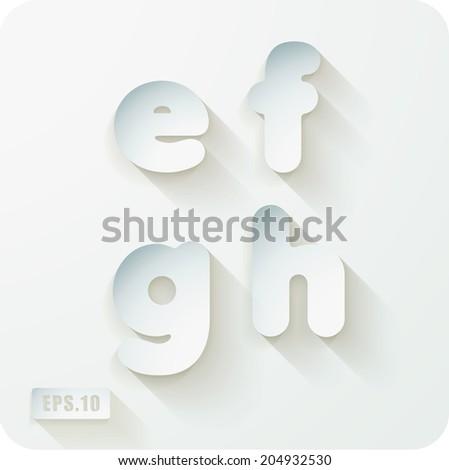 3d Joyful set of cut paper vector concave alphabet letters. Lowercase letter e, letter f, letter g, letter h. Eps 10 - stock vector