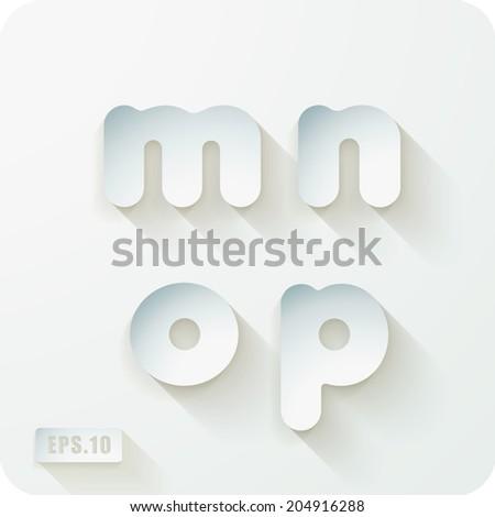 3d Joyful set of cut paper vector concave alphabet letters. Lowercase letter m, letter n, letter o, letter p. Eps 10 - stock vector