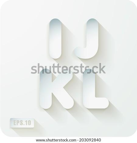 3d joyful set of cut paper vector concave alphabet letters for Alphabet letters cardboard