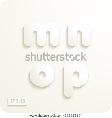 3d Joyful set of cut paper vector lowercase letters, m,n,o,p. Eps 10. The rest of uppercase and lowercase letters, symbols and numbers of the alphabet in my portfolio. - stock vector
