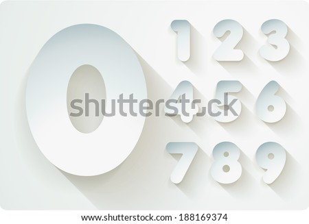3d Joyful set of cut paper vector numbers, from 1 to 0. Eps 10. The rest of uppercase and lowercase letters, symbols and numbers of the alphabet in my portfolio. - stock vector