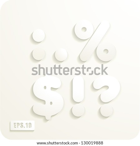 3d Joyful set of cut paper vector punctuation, colon,point,percentage,dollar,exclamation,question. Eps 10. The rest of uppercase and lowercase letters and numbers of the alphabet in my portfolio. - stock vector