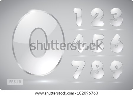 3d Joyful set of transparent vector glass numbers, from 1 to 0. Eps 10. The rest of uppercase and lowercase letters, and symbols of the alphabet in my portfolio. - stock vector