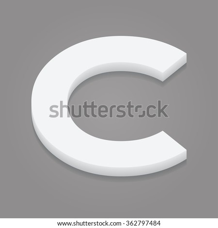 3d letter C isolated white background