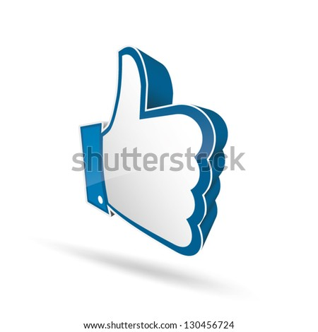 3d like thumb up symbol vector EPS10 - stock vector