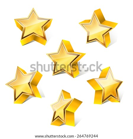3d little golden star set with variations - stock vector