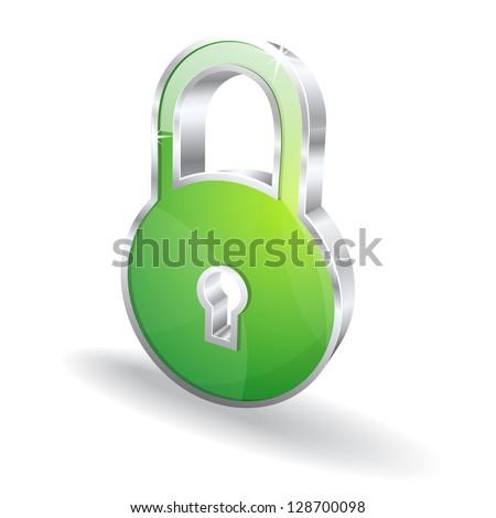 3d Lock Glossy Vector Icon - stock vector