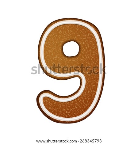 3d lovely gingerbread cookie number 9 isolated on white background