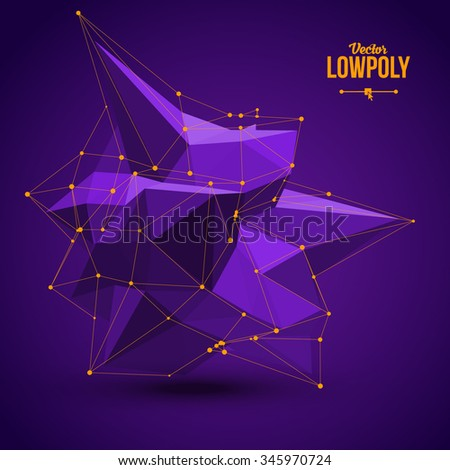 3D Low Polygon Geometry Background. Abstract Polygonal Geometric Shape. Lowpoly Minimal Style Art. Vector Illustration. - stock vector
