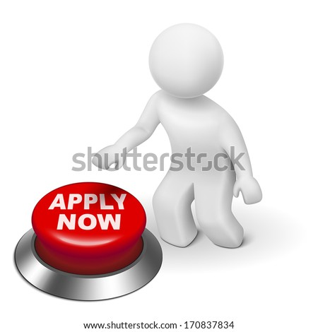 "3d man is pushing the ""APPLY NOW"" button isolated white background"