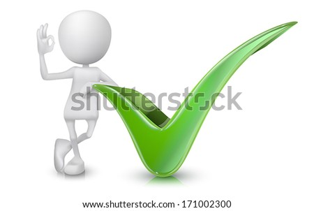 3d man showing okay hand sign with a check mark - stock vector