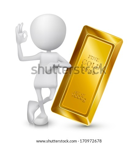 3d man showing okay hand sign with a golden bar - stock vector
