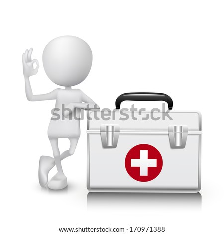 3d man showing okay hand sign with a Medicine cabinet - stock vector