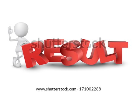 "3d man showing okay hand sign with a word ""result""  - stock vector"