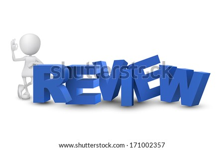"3d man showing okay hand sign with a word ""review"""