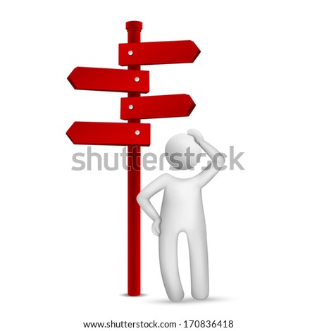 3d man standing in front of a road sign isolated white background - stock vector
