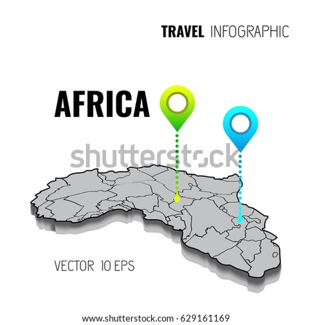 3 d map africa gps navigator pin stock vector 629161169 shutterstock 3d map of africa gps navigator pin checking green color on white background ccuart Images