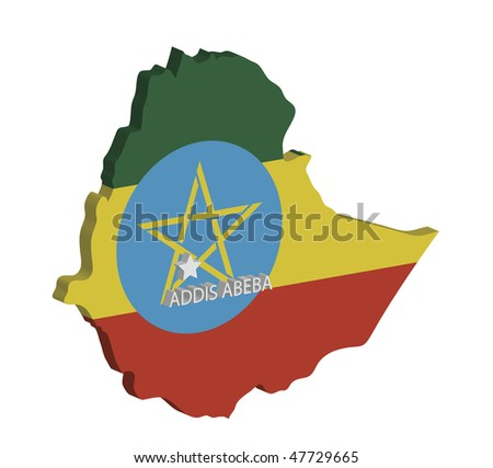 3d map of ethiopia with flag and capital marked