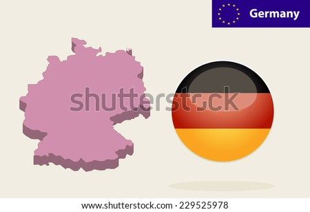 3D Map of Germany. Flag Glossy Button Germany. - stock vector