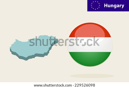 3D Map of Hungary. Flag Glossy Button Hungary. - stock vector
