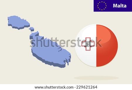 3D Map of Malta. Vector - Malta Flag Glossy Button - stock vector