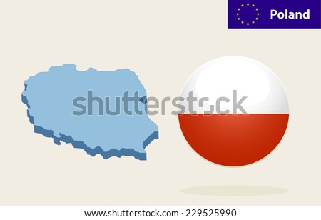 3D Map of Poland. Vector - Poland Flag Glossy Button - stock vector