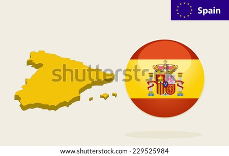 3D Map of Spain. Flag Glossy Button Spain. - stock vector