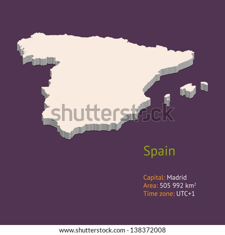 3d map of Spain isolated on purple background - stock vector