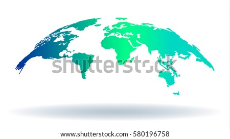 3D Map of the World Isolated with Shadow for Web Presentations, Educational, Art, Media Projects