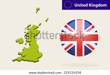 3D Map of United Kingdom. Vector - United Kingdom Flag Glossy Button - stock vector