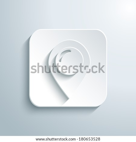 3D map pointer icon. White app button with shadow. Eps10 - stock vector