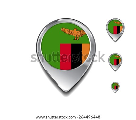 3d Map Pointer with flag glossy button style on gray background | Zambia flag map pointer - stock vector