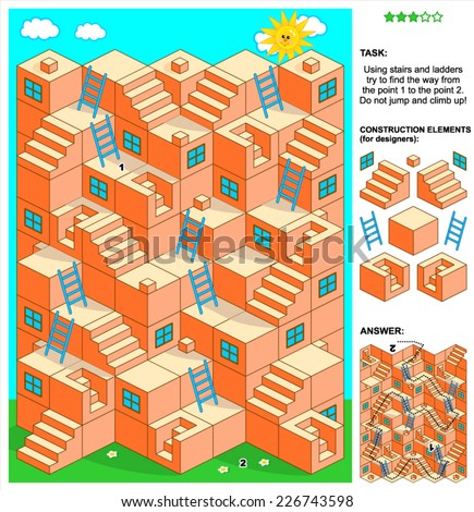3d maze game: Using stairs and ladders try to find the way from the point 1 to the point 2. Do not jump and climb up! Answer included. Plus construction elements for designers. - stock vector