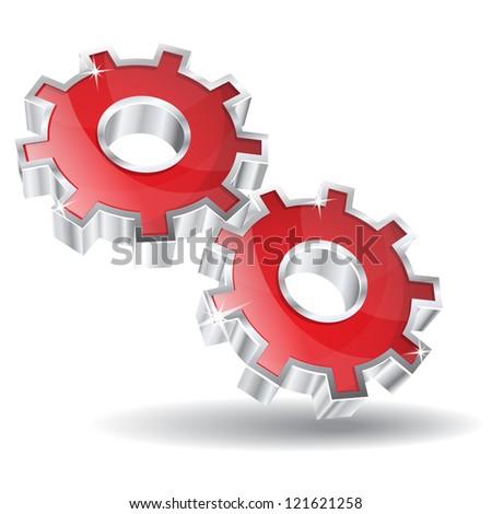 3D Mechanical Gear Vector Icon - stock vector